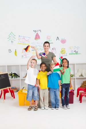 Preschool kids and teacher