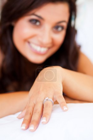 Bride showing her wedding ring