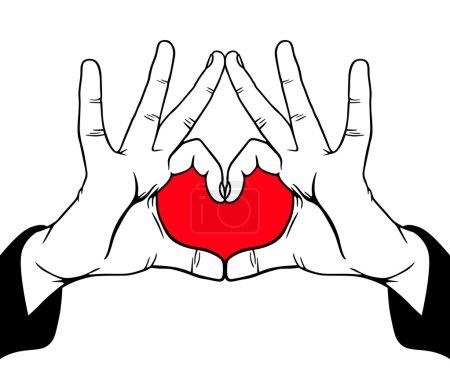 Illustration for Hands symbolic love, vector illustration - Royalty Free Image
