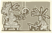 Woodblock Mayan King A