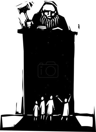 Illustration pour Juge de style Woodcut assis sur son banc avec la foule en face. - image libre de droit
