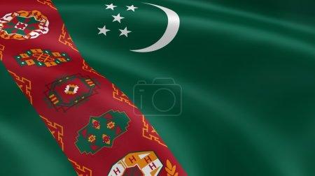 Photo pour Drapeau turkmène dans le vent. partie d'une série. - image libre de droit