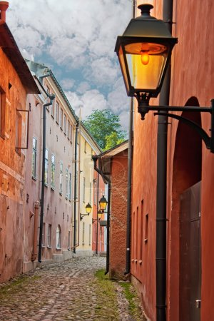 Narrow streets of Old Town in Finland