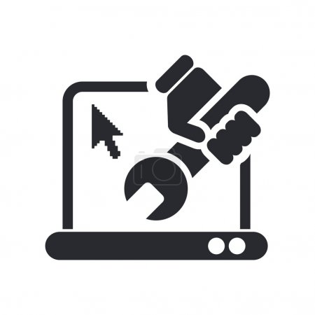 Vector illustration of isolated pc repair icon