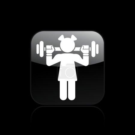 Illustration pour Illustration vectorielle d'icône de gym seule fille isolé - image libre de droit
