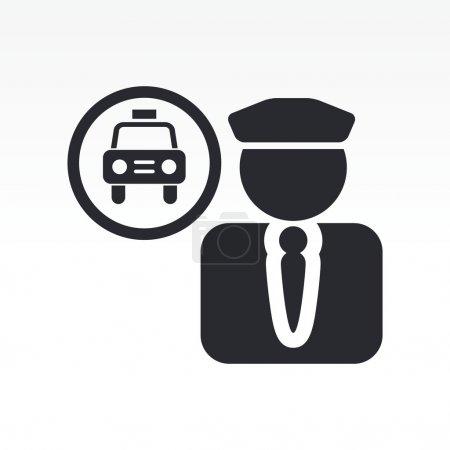 Illustration pour Illustration vectorielle d'une icône isolée de chauffeur de taxi - image libre de droit