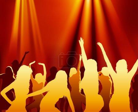 Photo pour Illustration Silhouettes dansantes et projecteurs - image libre de droit