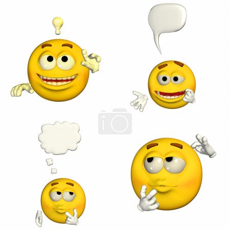 Photo for Illustration of a pack of four (4) emoticons / smileys with different poses and expressions isolated on a white background - 1of9 - Royalty Free Image
