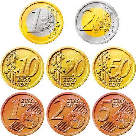 Photo for Illustration of a pack of all the existent euro coins isolated on a white background - Royalty Free Image