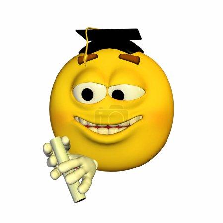 Photo pour Illustration d'un émoticône diplômé isolé sur fond blanc - image libre de droit