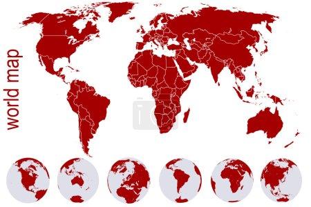 Carte du monde rouge avec globes terrestres