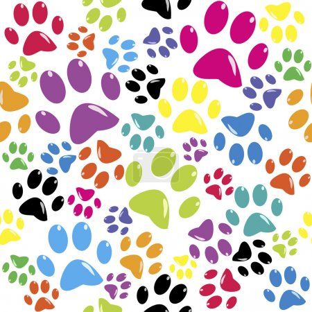 Illustration for Seamless pattern with colored paws - Royalty Free Image