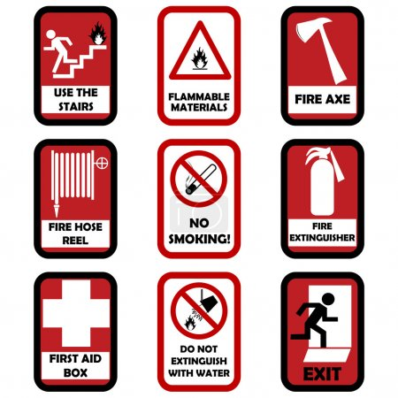 Illustration for Fire caution signs - Royalty Free Image