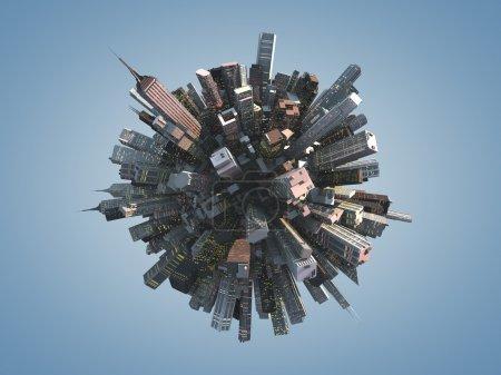 3d city shape with buildings
