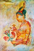 Ancient frescos on mount Sigiriya, Sri Lanka ( Ceylon ).