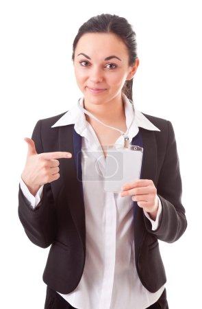 Photo pour Employé exécutif montre du doigt sur son badge - image libre de droit