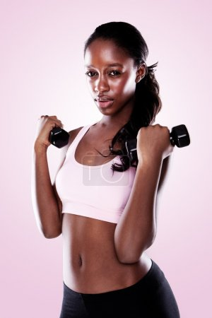 African Americal Woman Lifting Weights