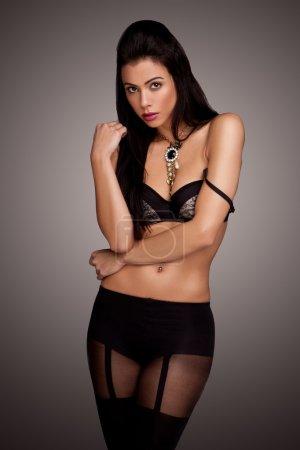 Seductive Beauty In Black Lingerie