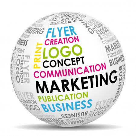 Marketing communication world. Vector icon.