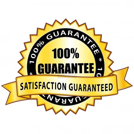 100% guarantee. Satisfaction guaranteed golden icon.