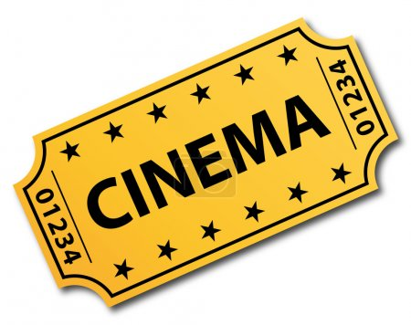 One single cinema ticket. Vector icon.