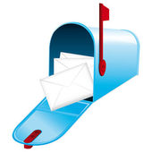 Beautiful blue metallic opened mailbox full of letters Vector icon