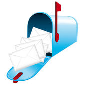 Beautiful blue metallic opened mailbox Vector icon Daily news concept