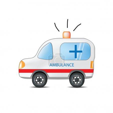 Illustration for Funny Cartoon Ambulance - Royalty Free Image