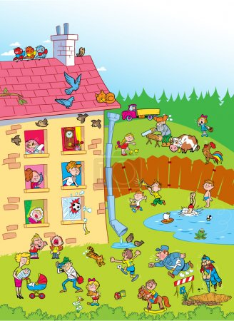Illustration for The illustration shows a house in the yard for several apartments.In the yard the children play. Illustration done in cartoon style. - Royalty Free Image