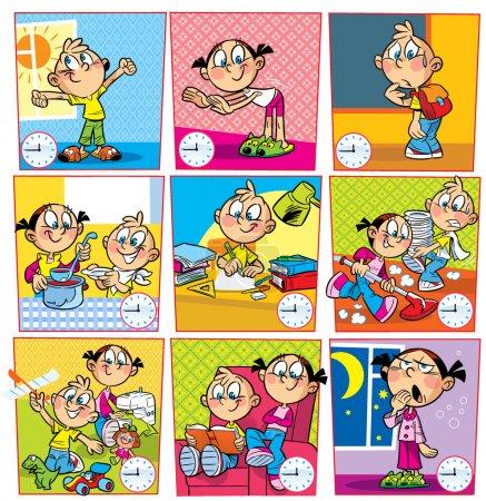 Illustration pour L'illustration montre le mode de la journée pour les enfants de l'école. illustration réalisée dans le style de dessin animé, sur des calques séparés. - image libre de droit