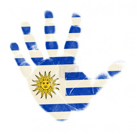 Photo pour Pavillon Uruguay empreinte de palmier isolé sur fond blanc - image libre de droit