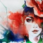 Creative hand painted fashion illustration...