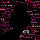 FASHION Word collage on black background Illustration with different association terms