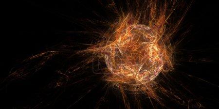 Photo pour Fractale de sortilège de boule de feu isolé sur fond noir - image libre de droit