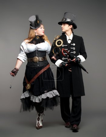 Photo for Vintage steam-punk stylized couple - Royalty Free Image