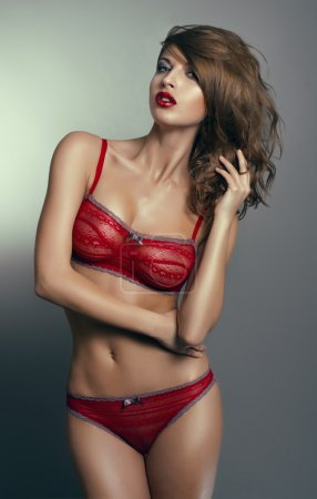 Sexy woman in red lingerie