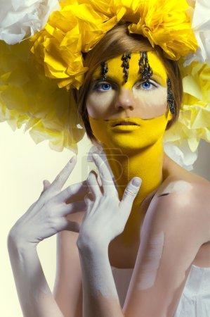 Creative beauty shot with headdress