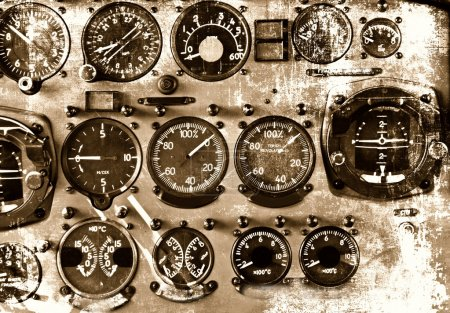 Photo for Retro aviation, aircraft instruments grunge background - Royalty Free Image