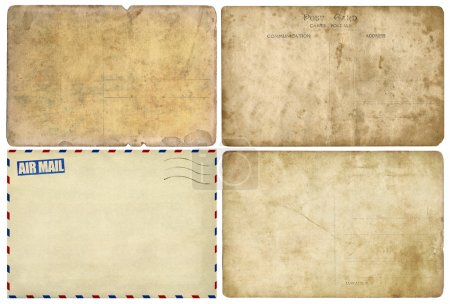 Photo for Old post cards isolated on white background, set - Royalty Free Image