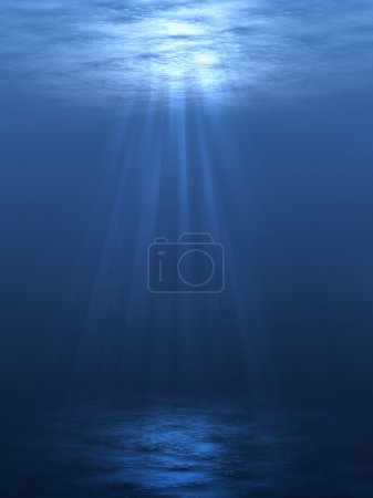 Photo for An underwater scene with sunrays shining through the water's glittering and moving surface. - Royalty Free Image