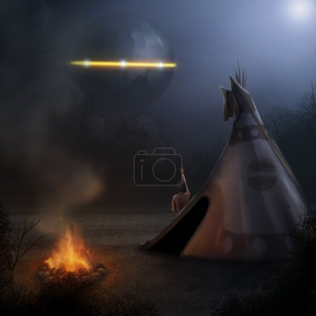 Native American UFO Sighting - Digital Painting