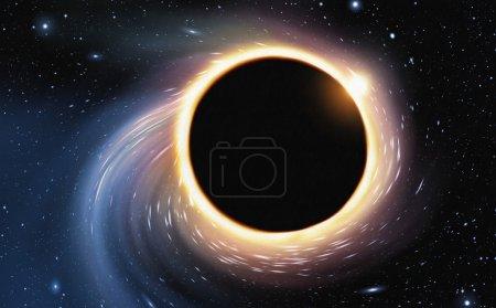 Photo pour Peinture numérique de l'espace déformée par un trou noir géant - image libre de droit