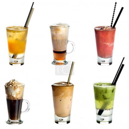 Photo for Collection of non alcoholic cocktails or drinks isolated on white background .Orange juice,Cappuccino,Fruity summer cocktai,Irish coffee,White Frappe Coffee ,Kiwi juice - Royalty Free Image