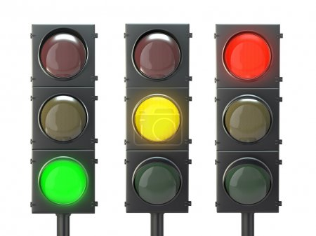 Photo for Set of traffic lights with red, yellow and green lights isolated on white background - Royalty Free Image
