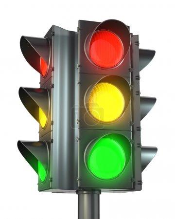 Четырёхсторонний светофор с красным, желтым и зеленым
