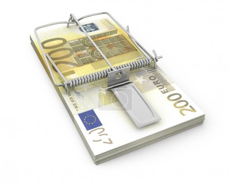 Mouse trap made of pack of euro