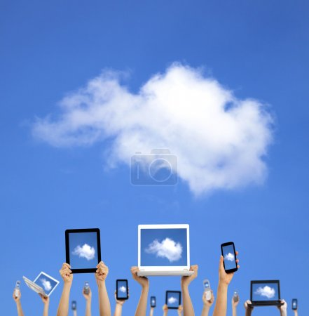 Photo for Cloud computing concept.hands holding computer laptop smart phone tablet and touch pad - Royalty Free Image