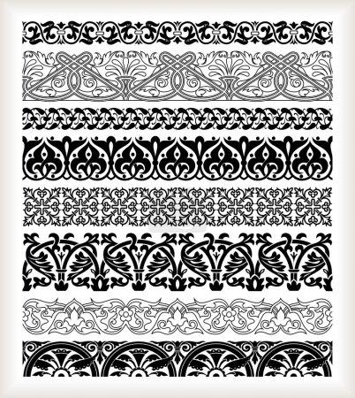 Illustration pour Ensemble de bordures vintage détaillées sans couture - image libre de droit