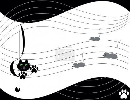 Illustration pour Thème musical avec chat et beaucoup de souris - image libre de droit