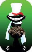 Black cat with Poker card spades diamonds hearts clubs ace
